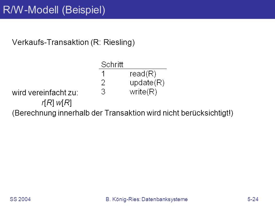 SS 2004B. König-Ries: Datenbanksysteme5-24 R/W-Modell (Beispiel) Verkaufs-Transaktion (R: Riesling) wird vereinfacht zu: r[R] w[R] (Berechnung innerha