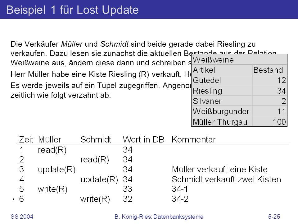 SS 2004B. König-Ries: Datenbanksysteme5-25 Beispiel 1 für Lost Update Die Verkäufer Müller und Schmidt sind beide gerade dabei Riesling zu verkaufen.
