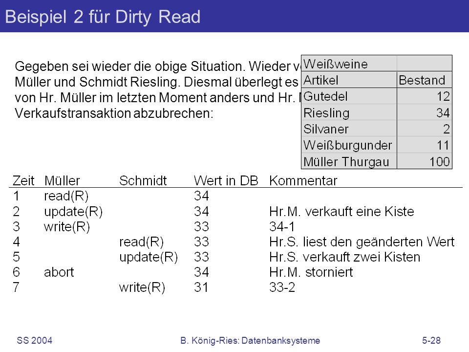 SS 2004B. König-Ries: Datenbanksysteme5-28 Beispiel 2 für Dirty Read Gegeben sei wieder die obige Situation. Wieder verkaufen die Herren Müller und Sc