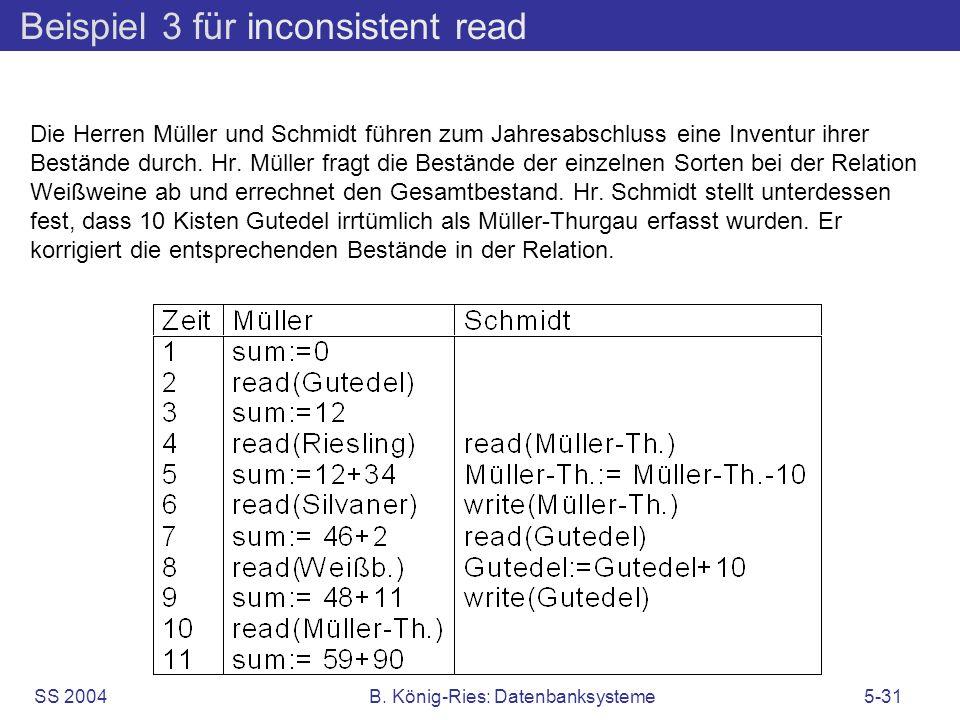 SS 2004B. König-Ries: Datenbanksysteme5-31 Beispiel 3 für inconsistent read Die Herren Müller und Schmidt führen zum Jahresabschluss eine Inventur ihr