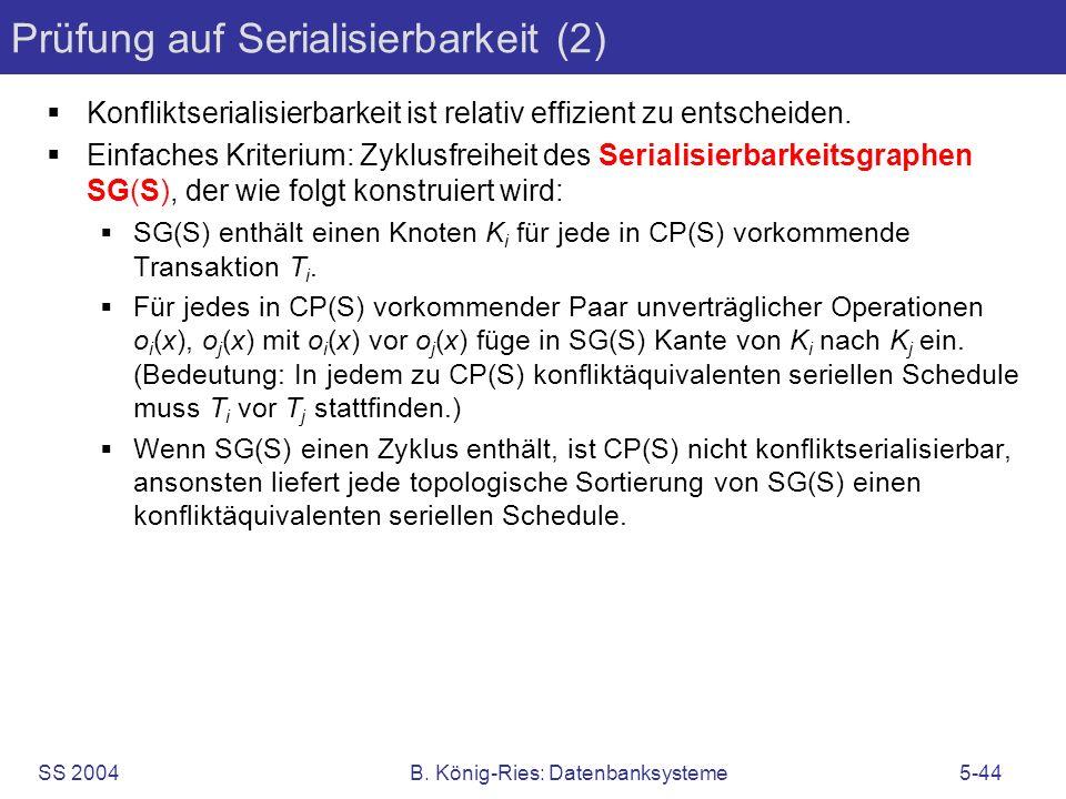 SS 2004B. König-Ries: Datenbanksysteme5-44 Prüfung auf Serialisierbarkeit (2) Konfliktserialisierbarkeit ist relativ effizient zu entscheiden. Einfach