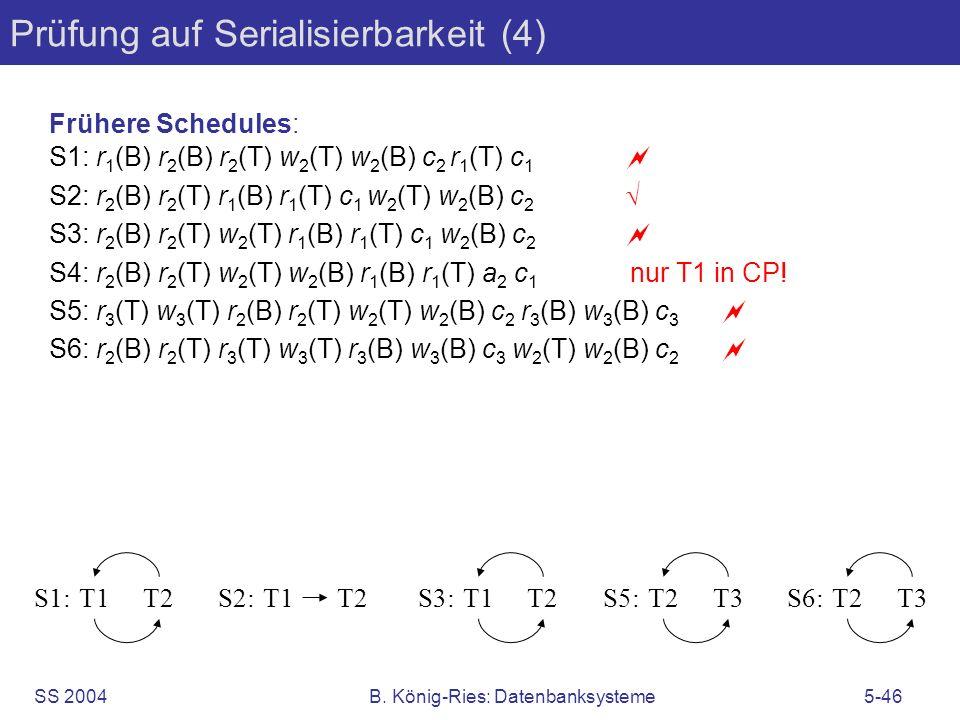 SS 2004B. König-Ries: Datenbanksysteme5-46 Prüfung auf Serialisierbarkeit (4) Frühere Schedules: S1: r 1 (B) r 2 (B) r 2 (T) w 2 (T) w 2 (B) c 2 r 1 (
