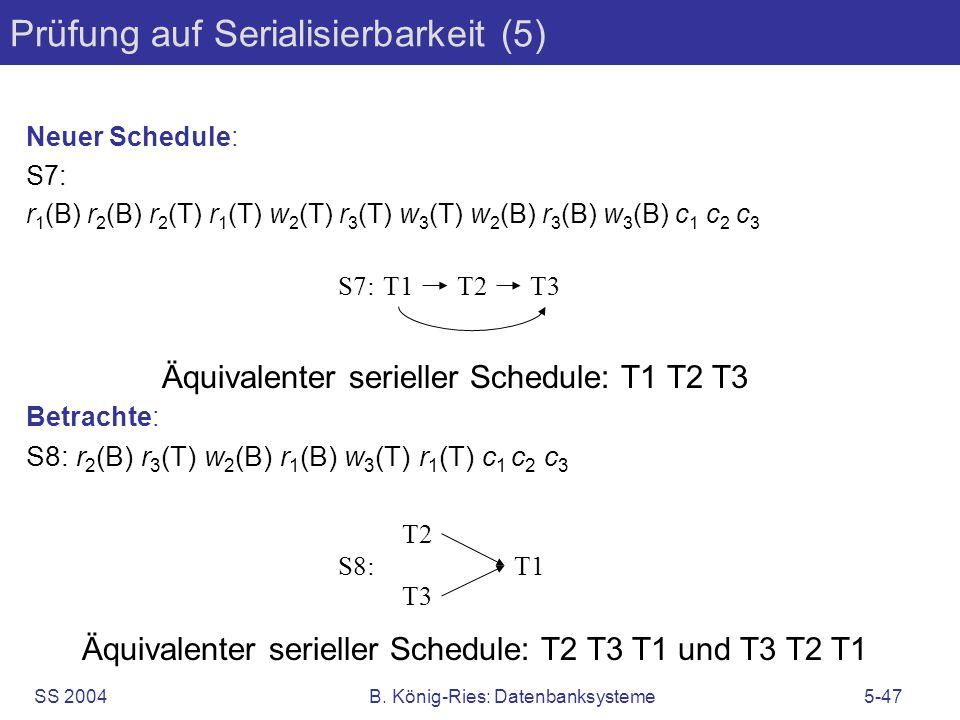 SS 2004B. König-Ries: Datenbanksysteme5-47 Prüfung auf Serialisierbarkeit (5) Neuer Schedule: S7: r 1 (B) r 2 (B) r 2 (T) r 1 (T) w 2 (T) r 3 (T) w 3