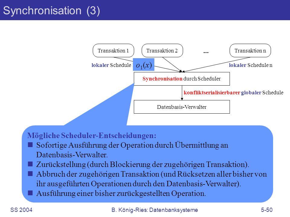 SS 2004B. König-Ries: Datenbanksysteme5-50 Transaktion 1Transaktion 2... Transaktion n Synchronisation durch Scheduler Datenbasis-Verwalter lokaler Sc