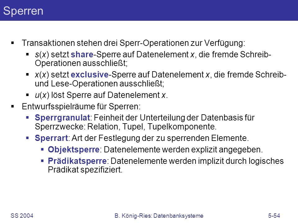 SS 2004B. König-Ries: Datenbanksysteme5-54 Sperren Transaktionen stehen drei Sperr-Operationen zur Verfügung: s(x) setzt share-Sperre auf Datenelement