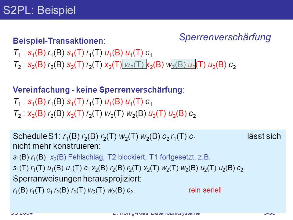 SS 2004B. König-Ries: Datenbanksysteme5-58 S2PL: Beispiel Beispiel-Transaktionen: T 1 : s 1 (B) r 1 (B) s 1 (T) r 1 (T) u 1 (B) u 1 (T) c 1 T 2 : s 2