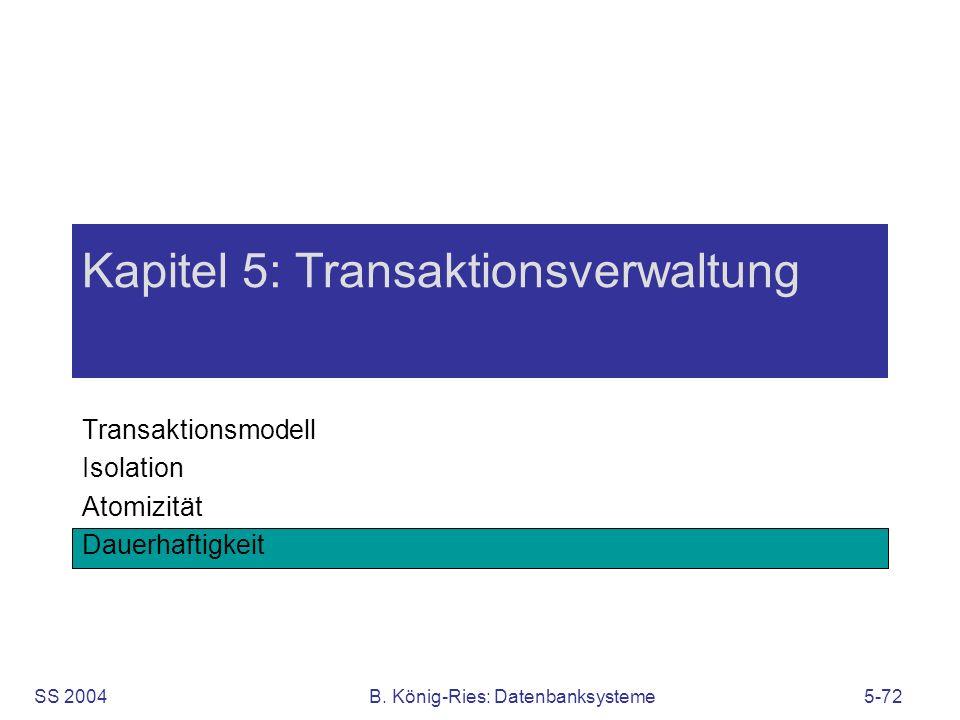 SS 2004B. König-Ries: Datenbanksysteme5-72 Kapitel 5: Transaktionsverwaltung Transaktionsmodell Isolation Atomizität Dauerhaftigkeit