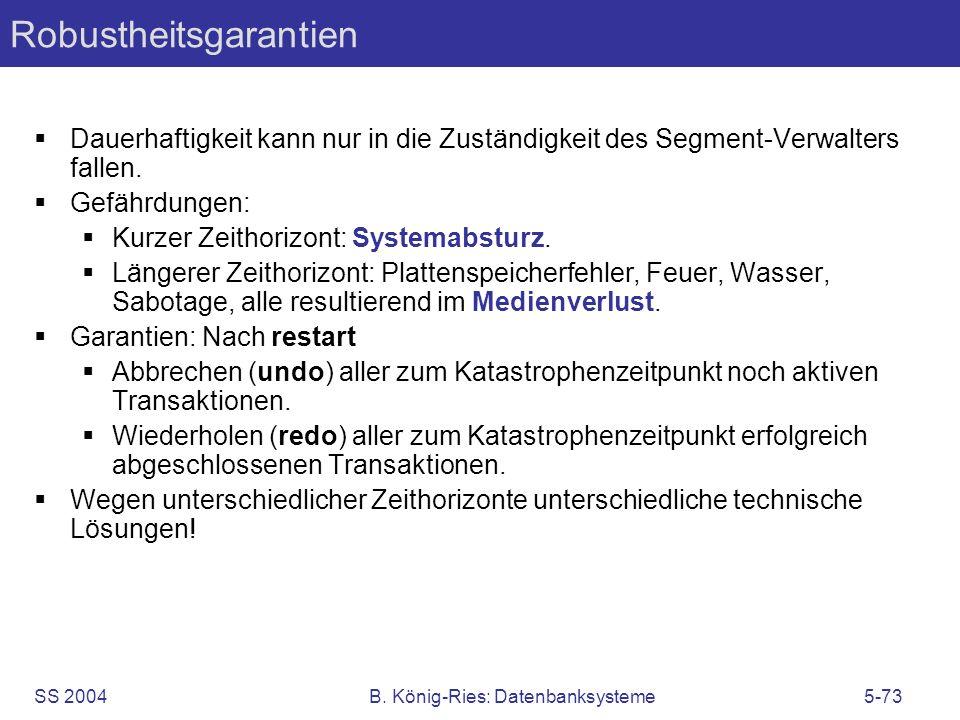 SS 2004B. König-Ries: Datenbanksysteme5-73 Robustheitsgarantien Dauerhaftigkeit kann nur in die Zuständigkeit des Segment-Verwalters fallen. Gefährdun