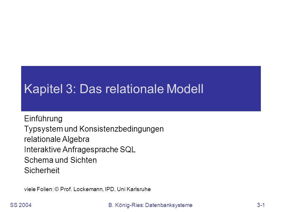 SS 2004B. König-Ries: Datenbanksysteme3-1 Kapitel 3: Das relationale Modell Einführung Typsystem und Konsistenzbedingungen relationale Algebra Interak