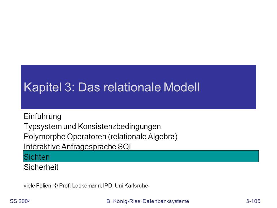 SS 2004B. König-Ries: Datenbanksysteme3-105 Kapitel 3: Das relationale Modell Einführung Typsystem und Konsistenzbedingungen Polymorphe Operatoren (re