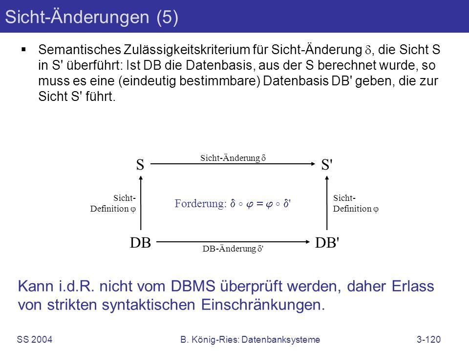 SS 2004B. König-Ries: Datenbanksysteme3-120 Sicht-Änderungen (5) Semantisches Zulässigkeitskriterium für Sicht-Änderung, die Sicht S in S' überführt: