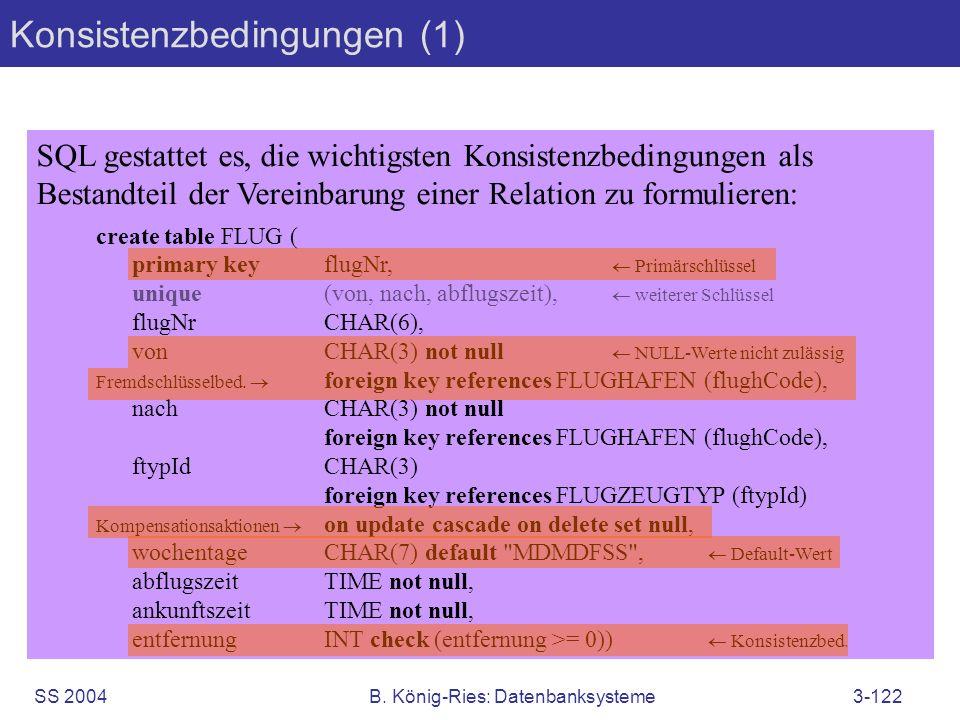 SS 2004B. König-Ries: Datenbanksysteme3-122 Konsistenzbedingungen (1) SQL gestattet es, die wichtigsten Konsistenzbedingungen als Bestandteil der Vere