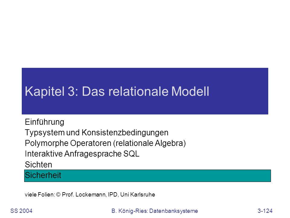 SS 2004B. König-Ries: Datenbanksysteme3-124 Kapitel 3: Das relationale Modell Einführung Typsystem und Konsistenzbedingungen Polymorphe Operatoren (re