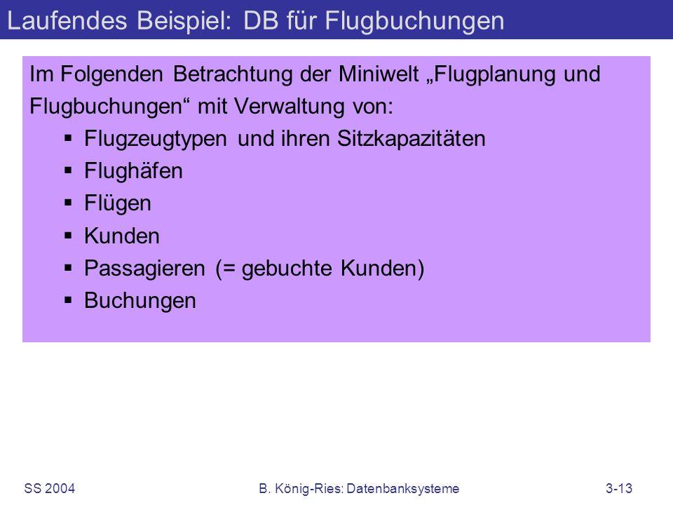 SS 2004B. König-Ries: Datenbanksysteme3-13 Laufendes Beispiel: DB für Flugbuchungen Im Folgenden Betrachtung der Miniwelt Flugplanung und Flugbuchunge
