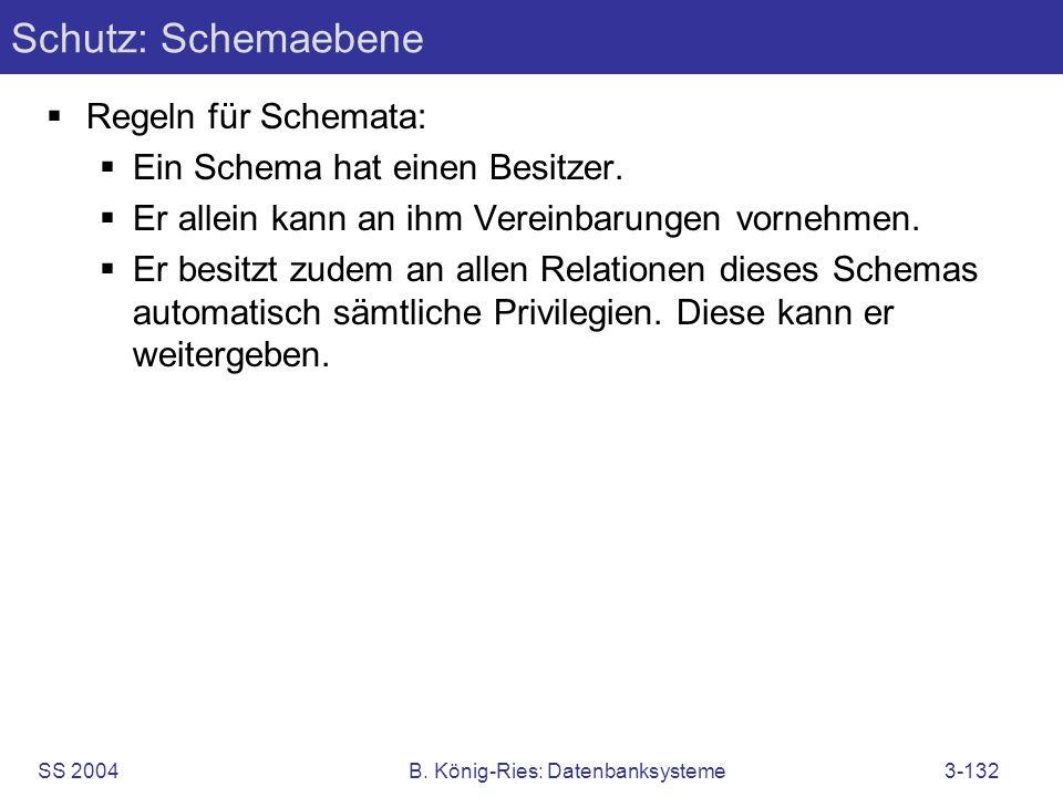 SS 2004B. König-Ries: Datenbanksysteme3-132 Schutz: Schemaebene Regeln für Schemata: Ein Schema hat einen Besitzer. Er allein kann an ihm Vereinbarung