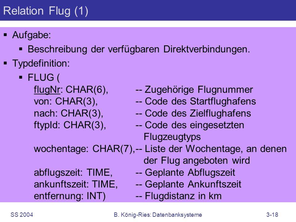 SS 2004B. König-Ries: Datenbanksysteme3-18 Relation Flug (1) Aufgabe: Beschreibung der verfügbaren Direktverbindungen. Typdefinition: FLUG ( flugNr: C