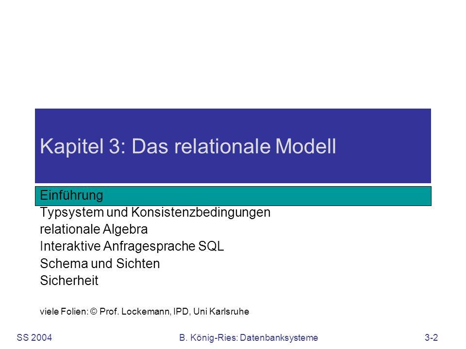 SS 2004B. König-Ries: Datenbanksysteme3-2 Kapitel 3: Das relationale Modell Einführung Typsystem und Konsistenzbedingungen relationale Algebra Interak