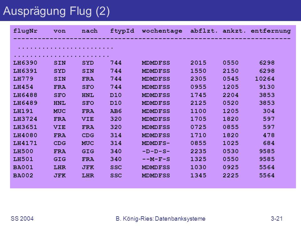 SS 2004B. König-Ries: Datenbanksysteme3-21 Ausprägung Flug (2) flugNr von nach ftypId wochentage abflzt. ankzt. entfernung ---------------------------