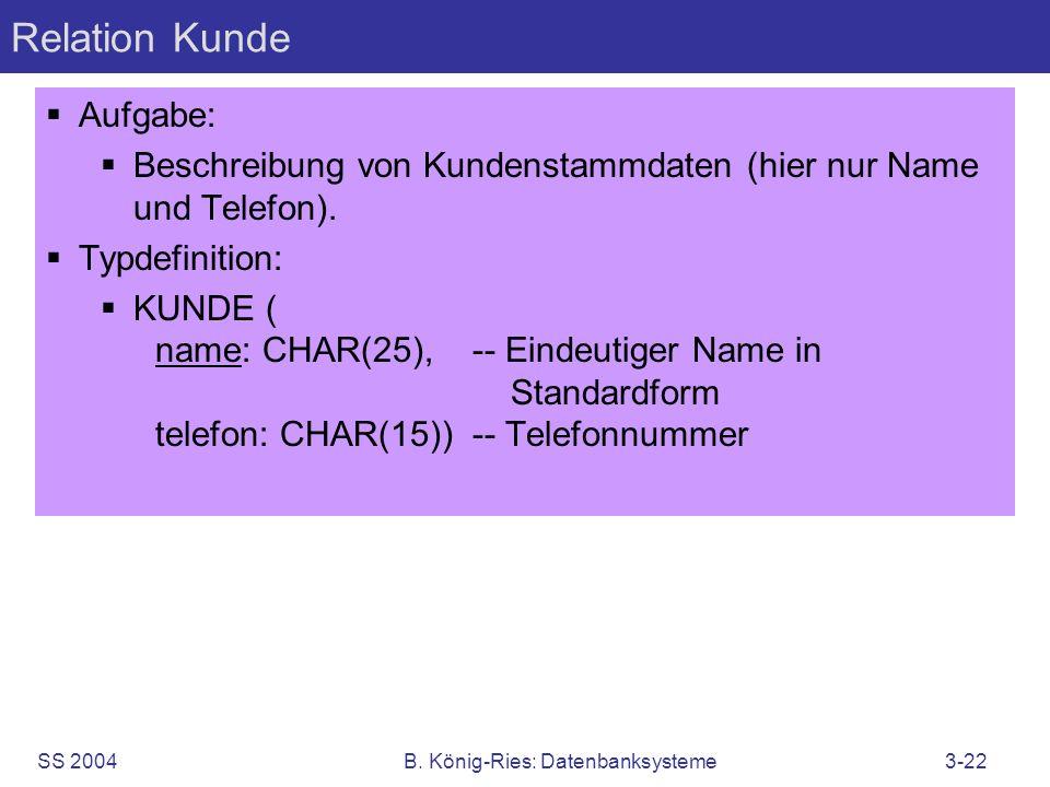 SS 2004B. König-Ries: Datenbanksysteme3-22 Relation Kunde Aufgabe: Beschreibung von Kundenstammdaten (hier nur Name und Telefon). Typdefinition: KUNDE
