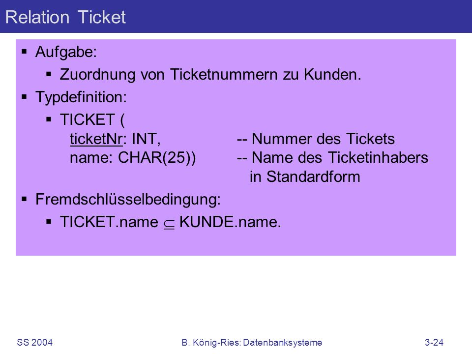 SS 2004B. König-Ries: Datenbanksysteme3-24 Relation Ticket Aufgabe: Zuordnung von Ticketnummern zu Kunden. Typdefinition: TICKET ( ticketNr: INT,-- Nu