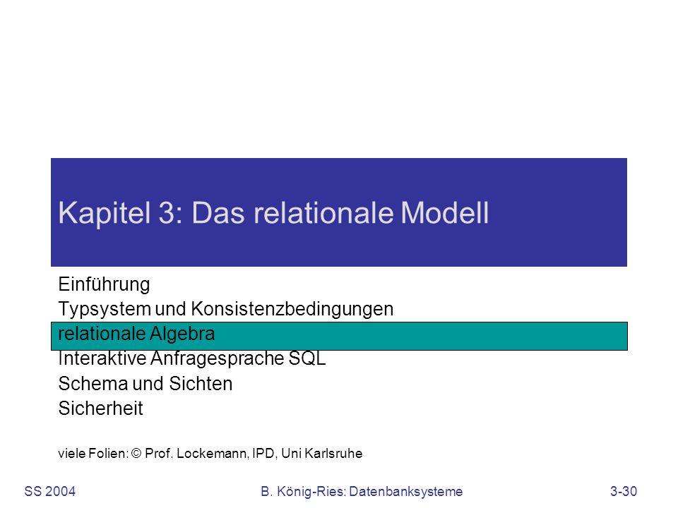 SS 2004B. König-Ries: Datenbanksysteme3-30 Kapitel 3: Das relationale Modell Einführung Typsystem und Konsistenzbedingungen relationale Algebra Intera