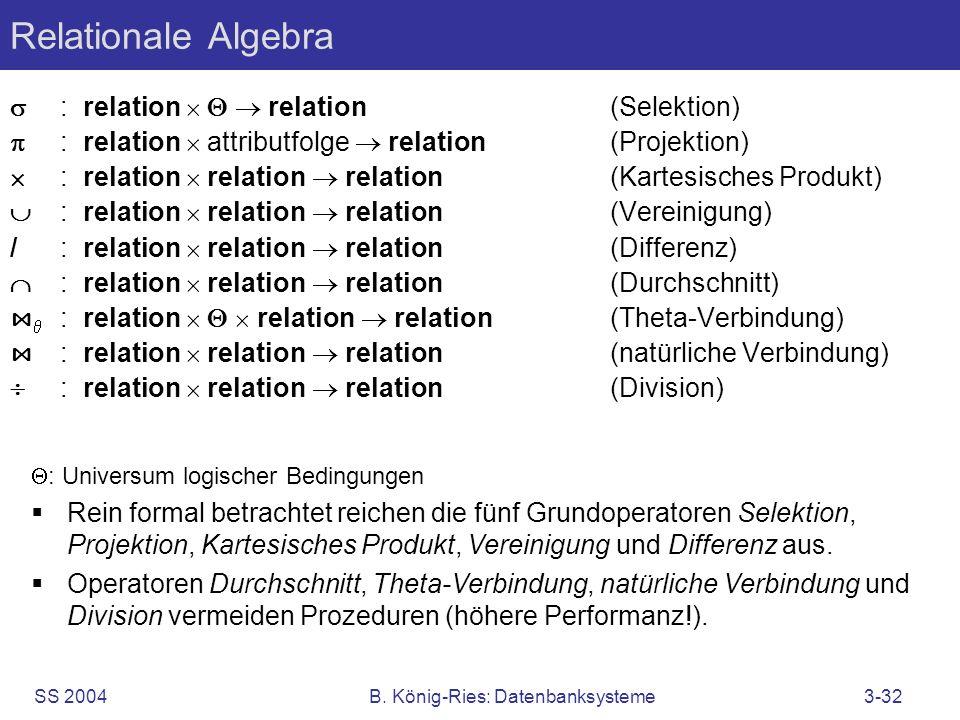 SS 2004B. König-Ries: Datenbanksysteme3-32 Relationale Algebra : relation relation (Selektion) : relation attributfolge relation (Projektion) : relati