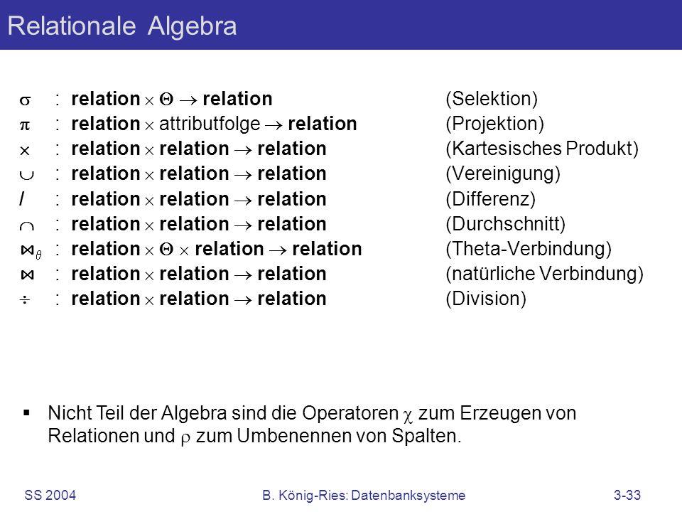 SS 2004B. König-Ries: Datenbanksysteme3-33 Relationale Algebra Nicht Teil der Algebra sind die Operatoren zum Erzeugen von Relationen und zum Umbenenn