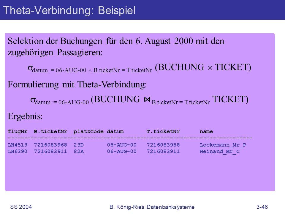 SS 2004B. König-Ries: Datenbanksysteme3-46 Selektion der Buchungen für den 6. August 2000 mit den zugehörigen Passagieren: datum = 06-AUG-00 B.ticketN