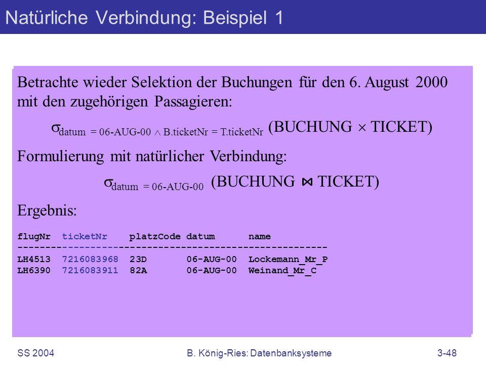 SS 2004B. König-Ries: Datenbanksysteme3-48 Betrachte wieder Selektion der Buchungen für den 6. August 2000 mit den zugehörigen Passagieren: datum = 06
