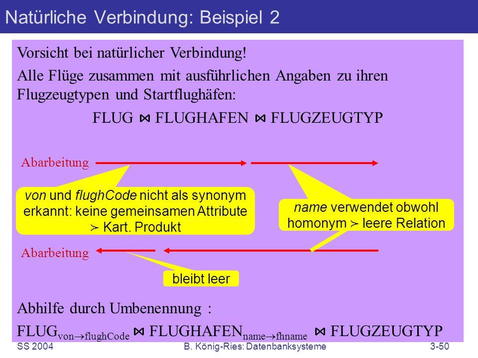 SS 2004B. König-Ries: Datenbanksysteme3-50 Natürliche Verbindung: Beispiel 2 Vorsicht bei natürlicher Verbindung! Alle Flüge zusammen mit ausführliche