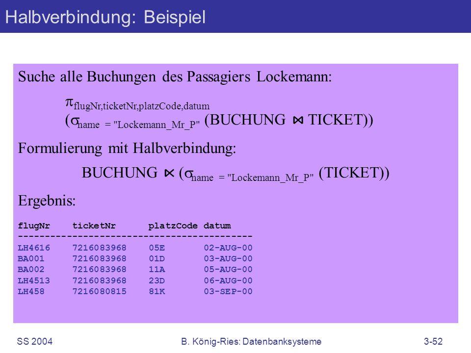 SS 2004B. König-Ries: Datenbanksysteme3-52 Suche alle Buchungen des Passagiers Lockemann: flugNr,ticketNr,platzCode,datum ( name =