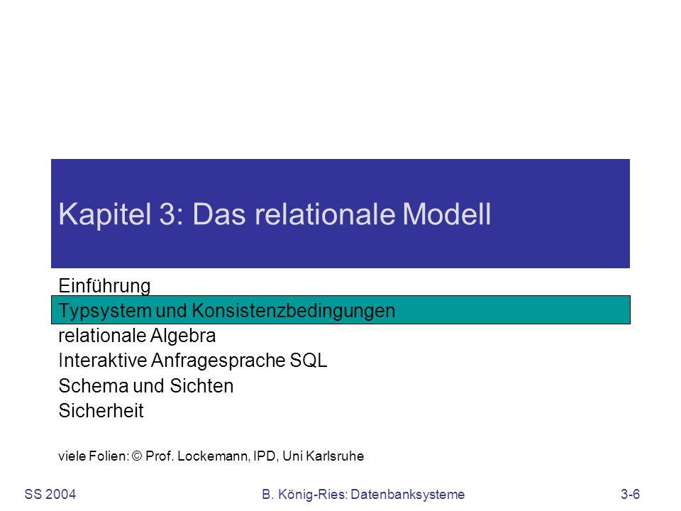 SS 2004B. König-Ries: Datenbanksysteme3-6 Kapitel 3: Das relationale Modell Einführung Typsystem und Konsistenzbedingungen relationale Algebra Interak