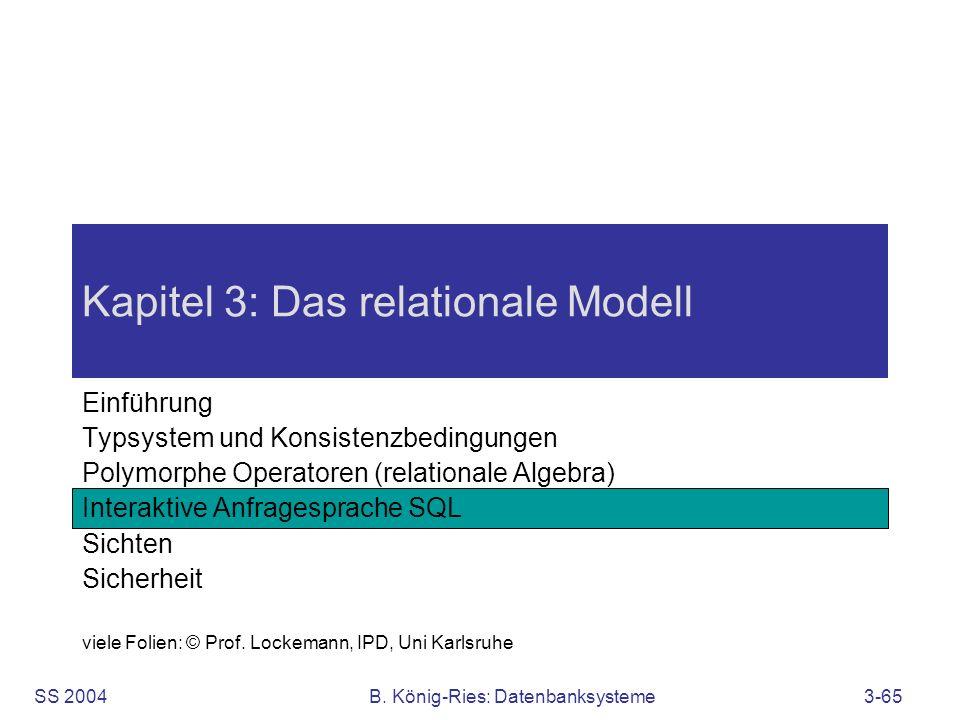 SS 2004B. König-Ries: Datenbanksysteme3-65 Kapitel 3: Das relationale Modell Einführung Typsystem und Konsistenzbedingungen Polymorphe Operatoren (rel