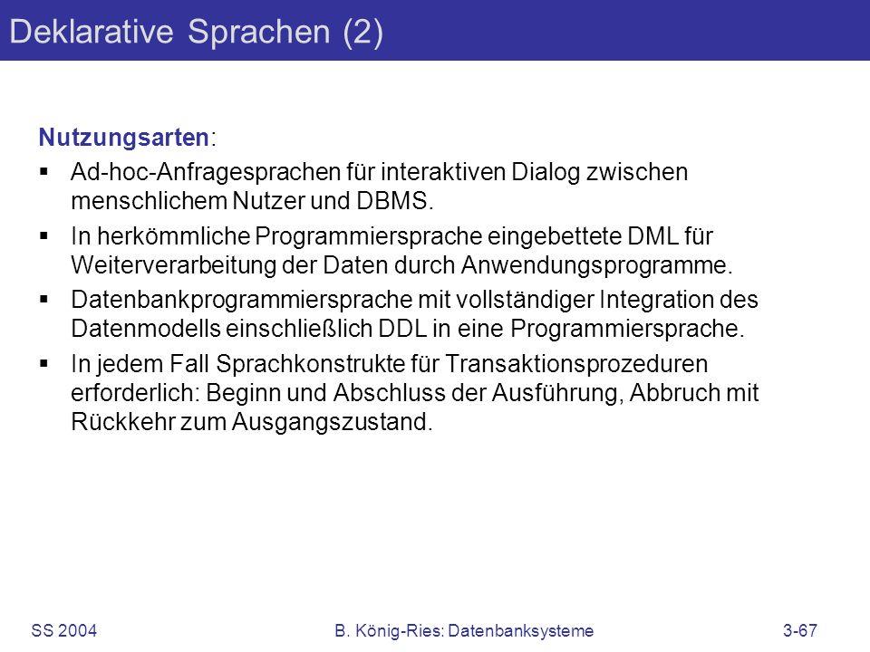 SS 2004B. König-Ries: Datenbanksysteme3-67 Deklarative Sprachen (2) Nutzungsarten: Ad-hoc-Anfragesprachen für interaktiven Dialog zwischen menschliche