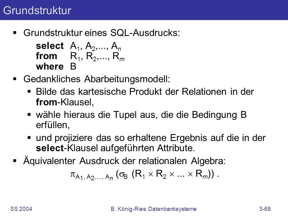 SS 2004B. König-Ries: Datenbanksysteme3-69 Grundstruktur Grundstruktur eines SQL-Ausdrucks: selectA 1, A 2,..., A n fromR 1, R 2,..., R m whereB Gedan