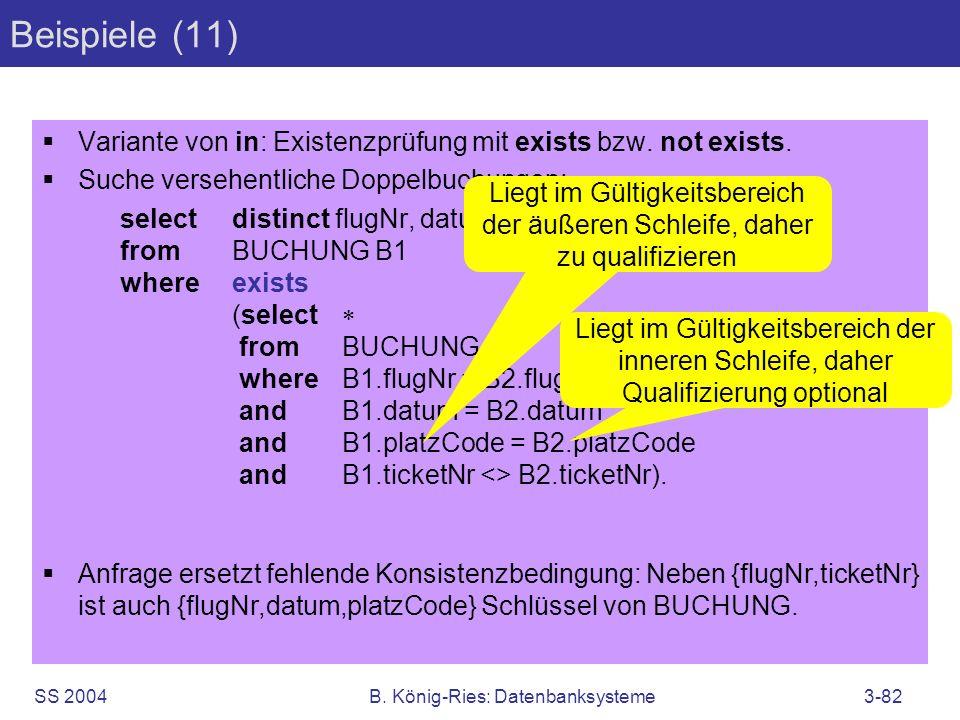 SS 2004B. König-Ries: Datenbanksysteme3-82 Beispiele (11) Variante von in: Existenzprüfung mit exists bzw. not exists. Suche versehentliche Doppelbuch