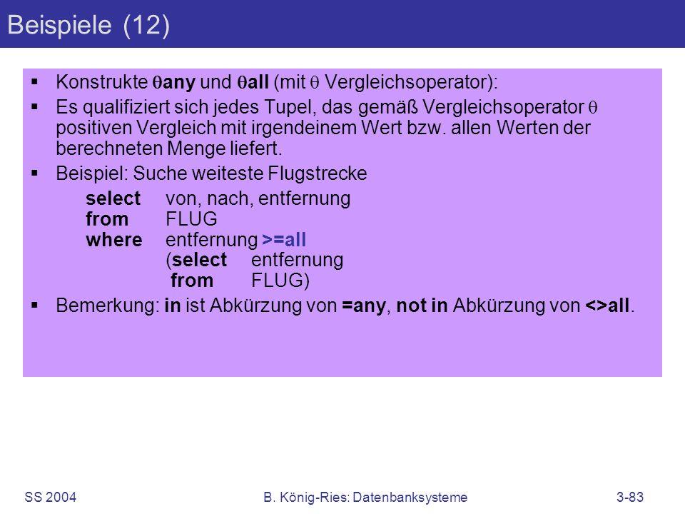 SS 2004B. König-Ries: Datenbanksysteme3-83 Beispiele (12) Konstrukte any und all (mit Vergleichsoperator): Es qualifiziert sich jedes Tupel, das gemäß