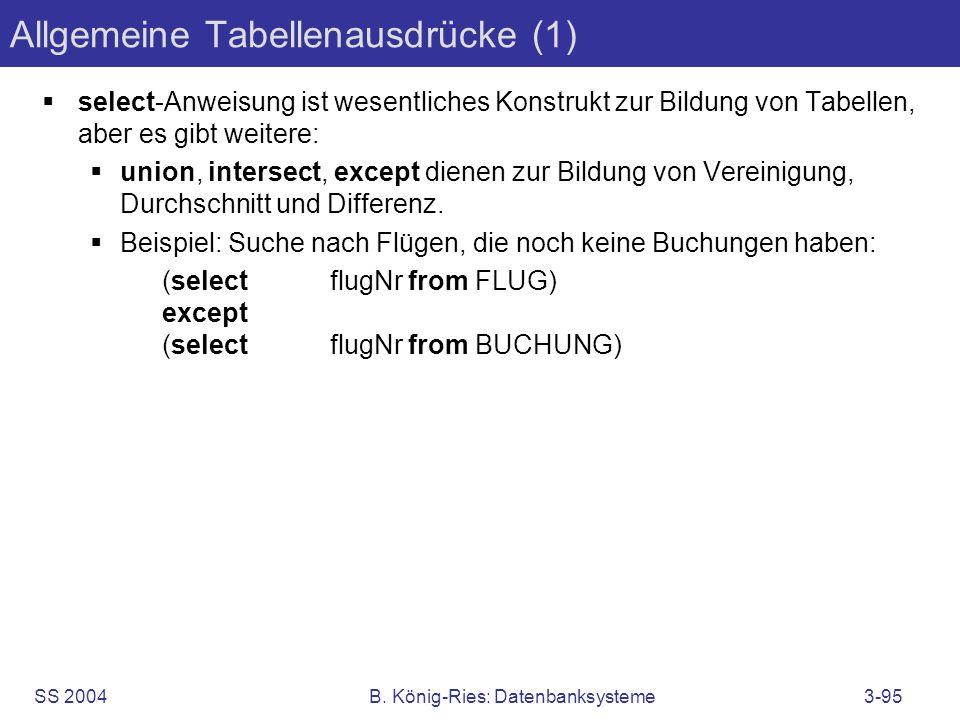 SS 2004B. König-Ries: Datenbanksysteme3-95 Allgemeine Tabellenausdrücke (1) select-Anweisung ist wesentliches Konstrukt zur Bildung von Tabellen, aber