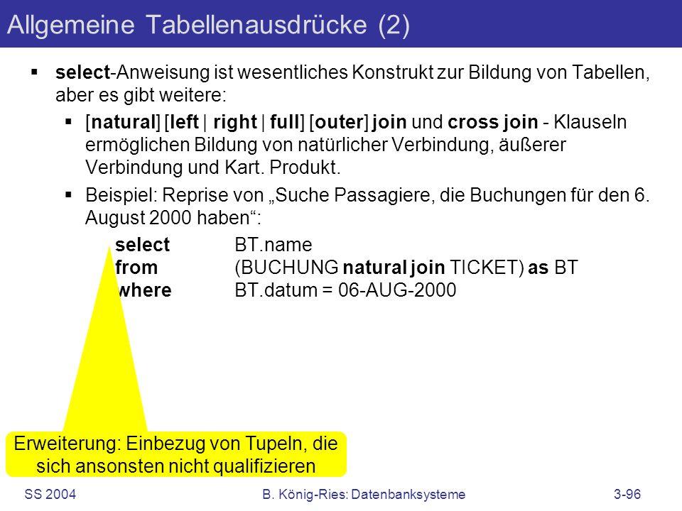 SS 2004B. König-Ries: Datenbanksysteme3-96 Allgemeine Tabellenausdrücke (2) select-Anweisung ist wesentliches Konstrukt zur Bildung von Tabellen, aber