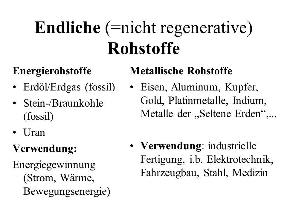 Endliche (=nicht regenerative) Rohstoffe Energierohstoffe Erdöl/Erdgas (fossil) Stein-/Braunkohle (fossil) Uran Verwendung: Energiegewinnung (Strom, Wärme, Bewegungsenergie) Metallische Rohstoffe Eisen, Aluminum, Kupfer, Gold, Platinmetalle, Indium, Metalle der Seltene Erden,...