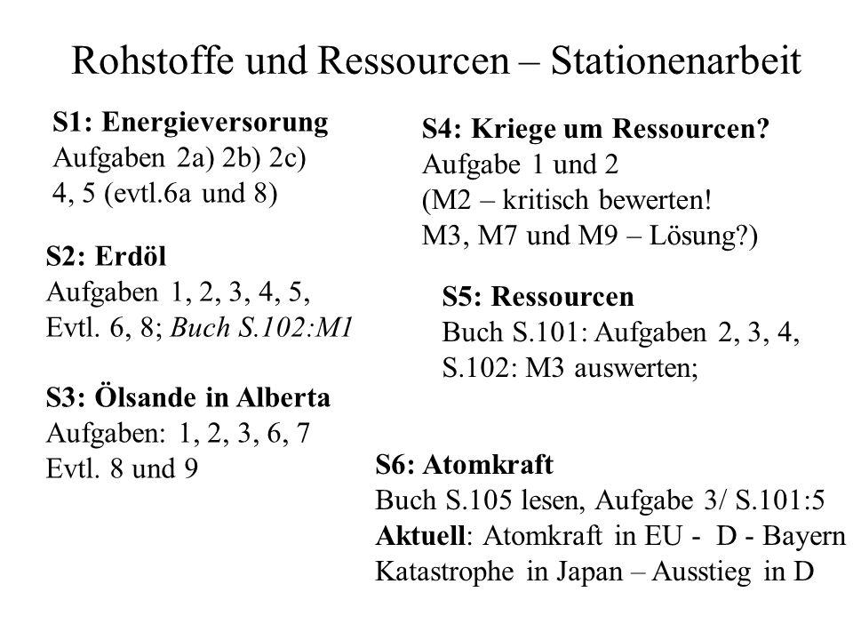 Rohstoffe und Ressourcen – Stationenarbeit S4: Kriege um Ressourcen? Aufgabe 1 und 2 (M2 – kritisch bewerten! M3, M7 und M9 – Lösung?) S1: Energievers