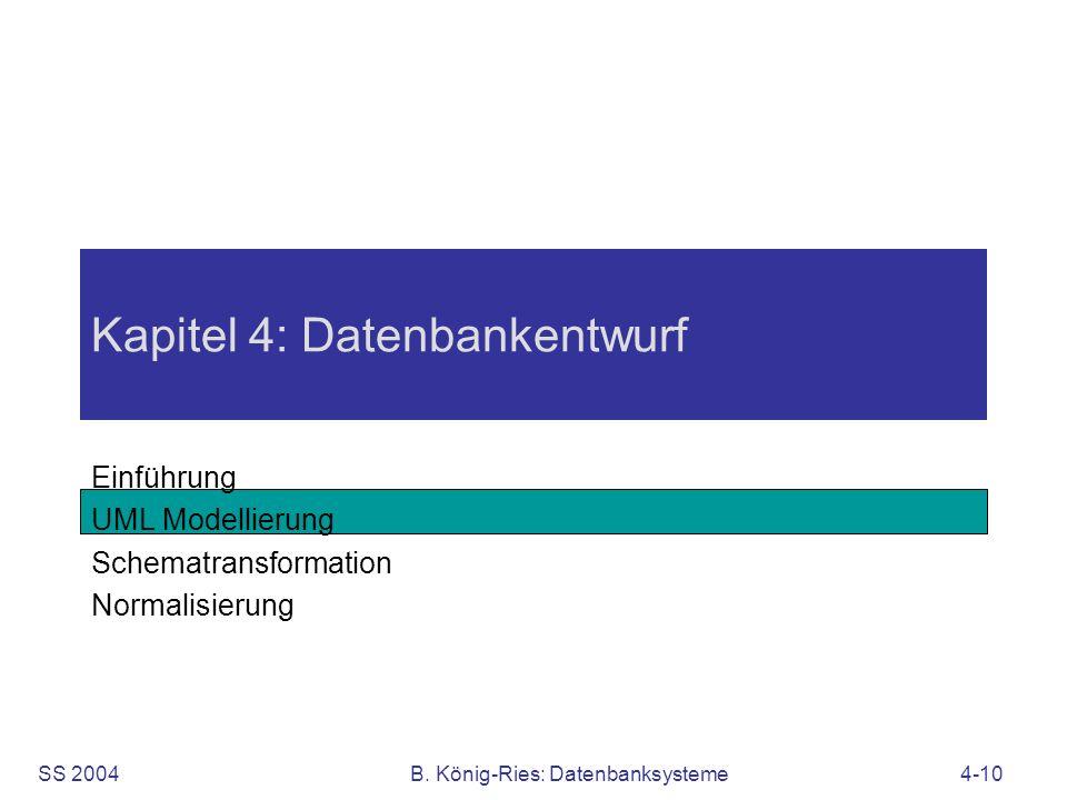 SS 2004B. König-Ries: Datenbanksysteme4-10 Kapitel 4: Datenbankentwurf Einführung UML Modellierung Schematransformation Normalisierung