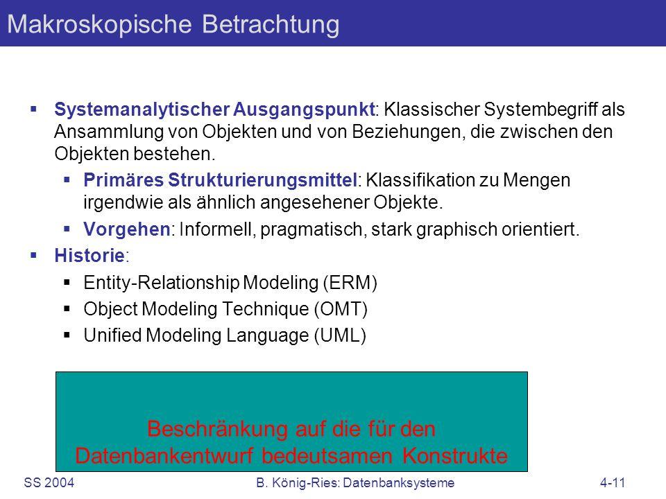 SS 2004B. König-Ries: Datenbanksysteme4-11 Beschränkung auf die für den Datenbankentwurf bedeutsamen Konstrukte Makroskopische Betrachtung Systemanaly