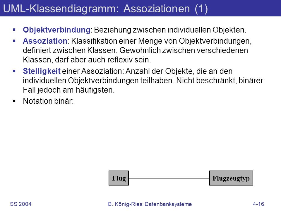SS 2004B. König-Ries: Datenbanksysteme4-16 UML-Klassendiagramm: Assoziationen (1) Objektverbindung: Beziehung zwischen individuellen Objekten. Assozia