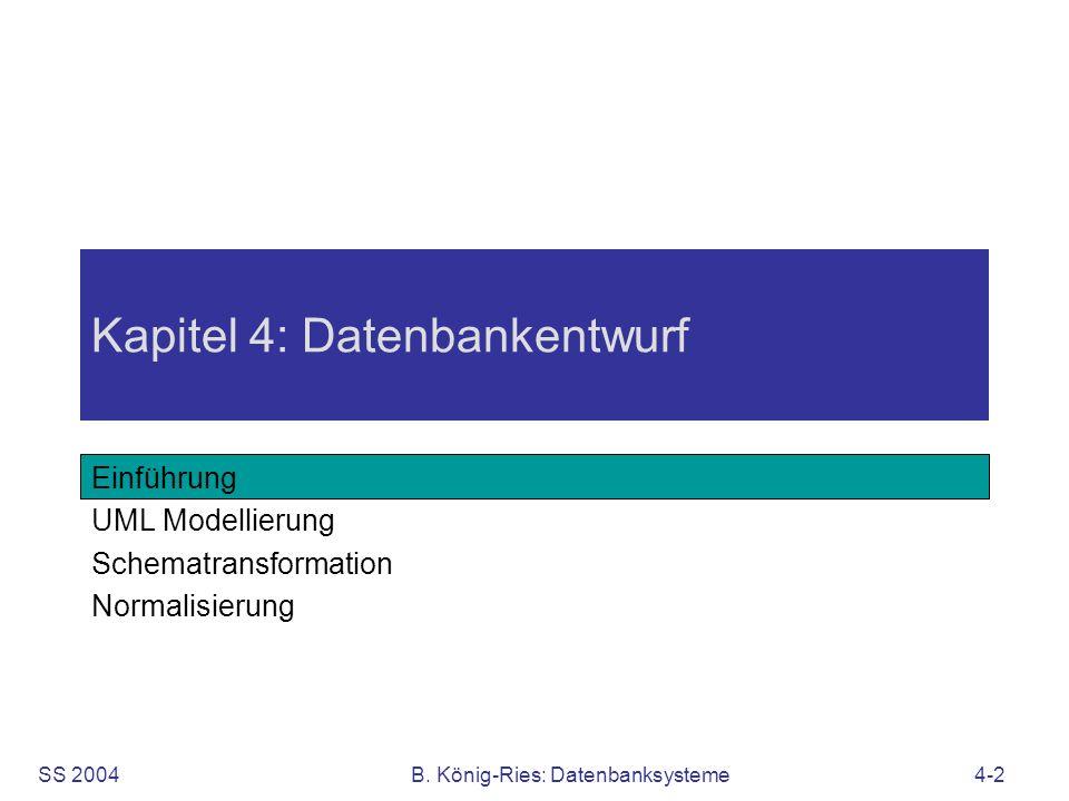 SS 2004B. König-Ries: Datenbanksysteme4-2 Kapitel 4: Datenbankentwurf Einführung UML Modellierung Schematransformation Normalisierung