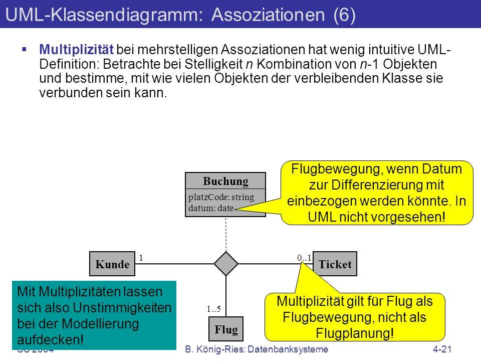 SS 2004B. König-Ries: Datenbanksysteme4-21 UML-Klassendiagramm: Assoziationen (6) Multiplizität bei mehrstelligen Assoziationen hat wenig intuitive UM