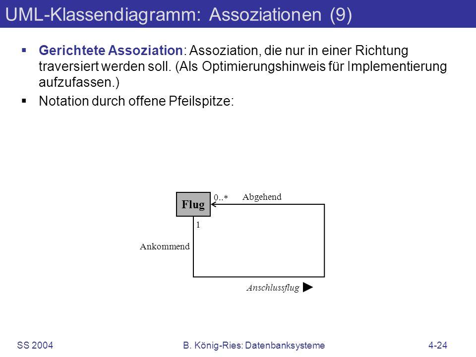 SS 2004B. König-Ries: Datenbanksysteme4-24 UML-Klassendiagramm: Assoziationen (9) Gerichtete Assoziation: Assoziation, die nur in einer Richtung trave