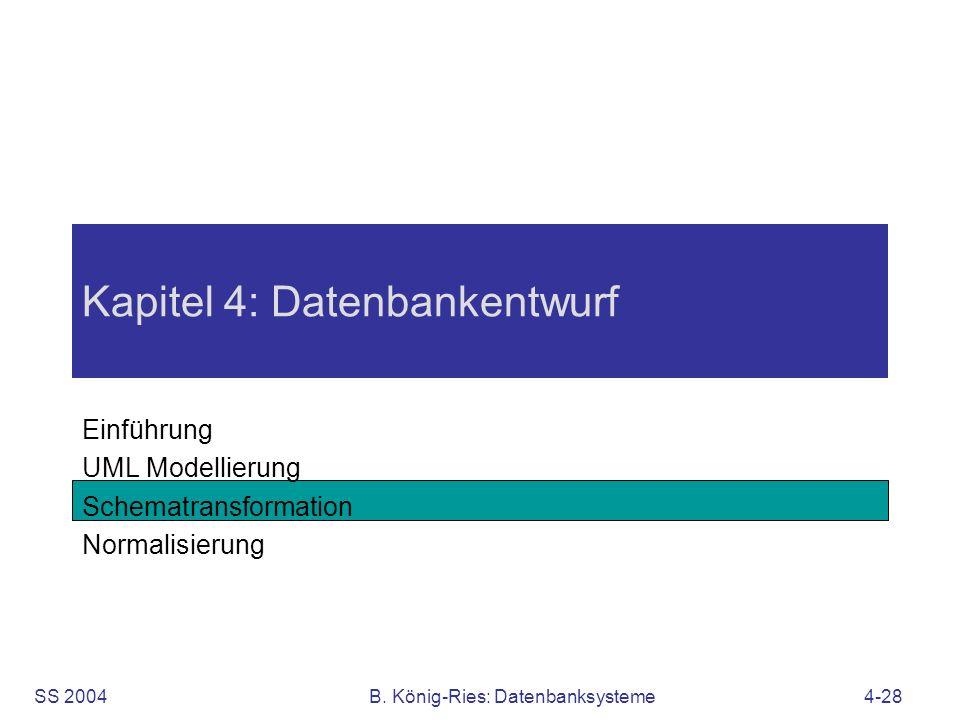 SS 2004B. König-Ries: Datenbanksysteme4-28 Kapitel 4: Datenbankentwurf Einführung UML Modellierung Schematransformation Normalisierung