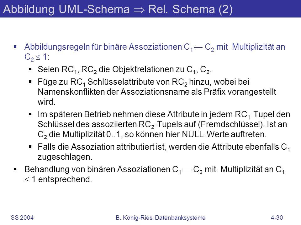 SS 2004B. König-Ries: Datenbanksysteme4-30 Abbildung UML-Schema Rel. Schema (2) Abbildungsregeln für binäre Assoziationen C 1 C 2 mit Multiplizität an