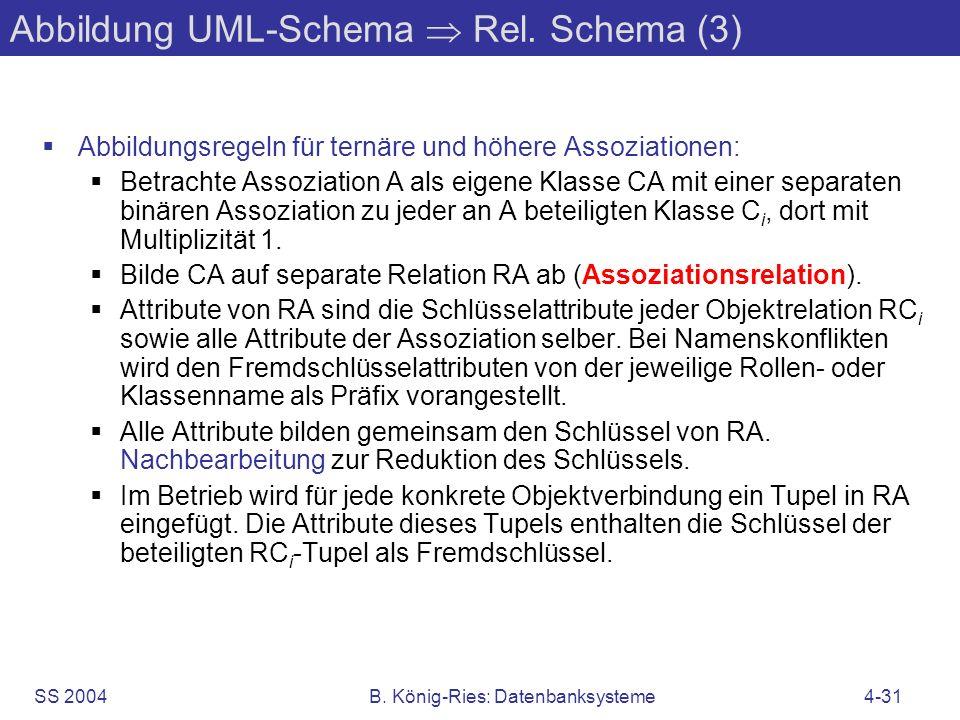 SS 2004B. König-Ries: Datenbanksysteme4-31 Abbildung UML-Schema Rel. Schema (3) Abbildungsregeln für ternäre und höhere Assoziationen: Betrachte Assoz